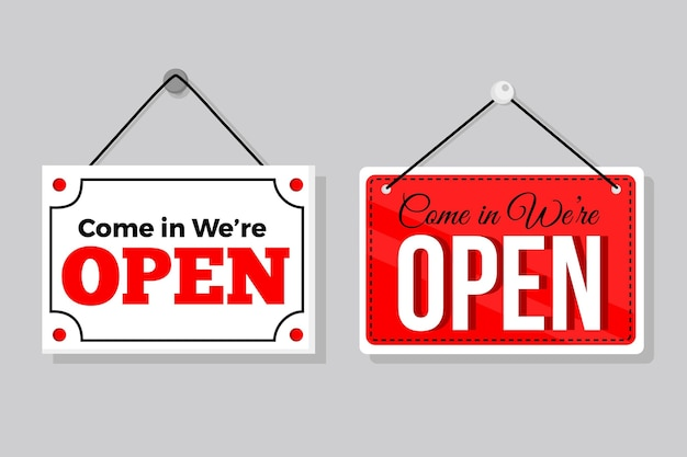 Collection of hanging we are open signs Premium Vector