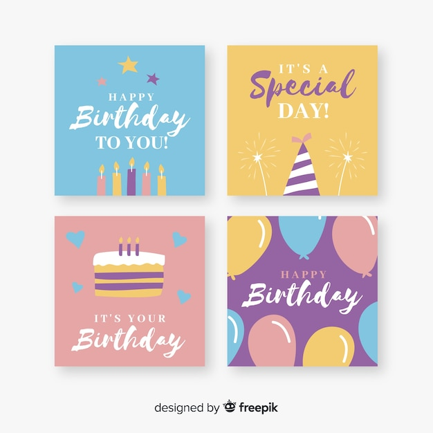Collection of happy birthday cards Free Vector