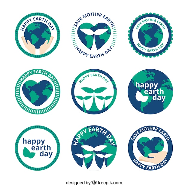 Collection of happy earth day stickers Free Vector