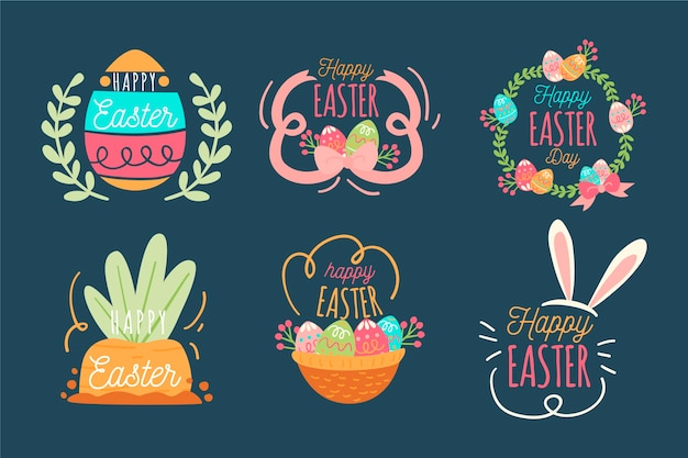 Collection of happy easter day badge flat design Free Vector