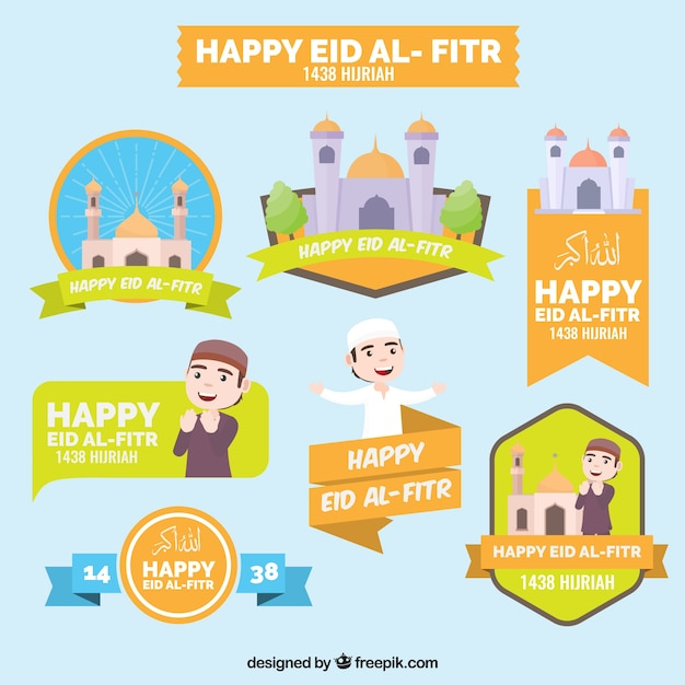 Collection of happy eid al fitr stickers Free Vector