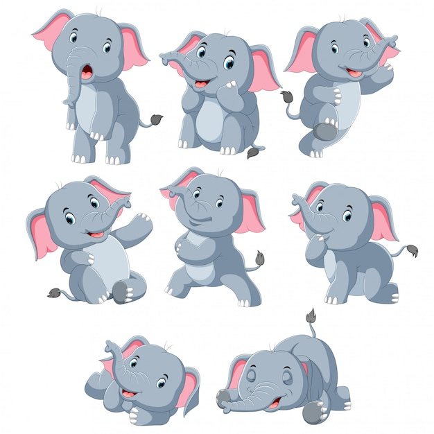 Collection of happy elephant with various posing Premium Vector