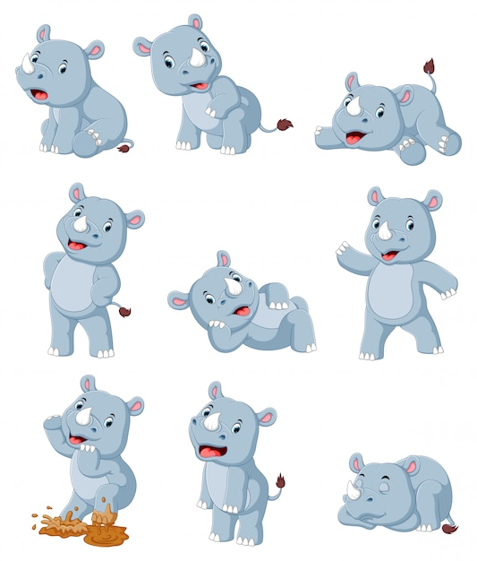 Collection of happy rhino with various posing Premium Vector