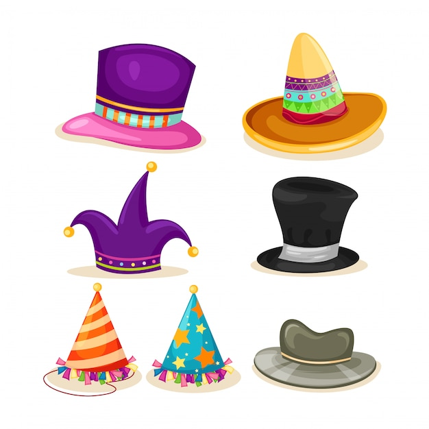 Collection hat illustration Premium Vector