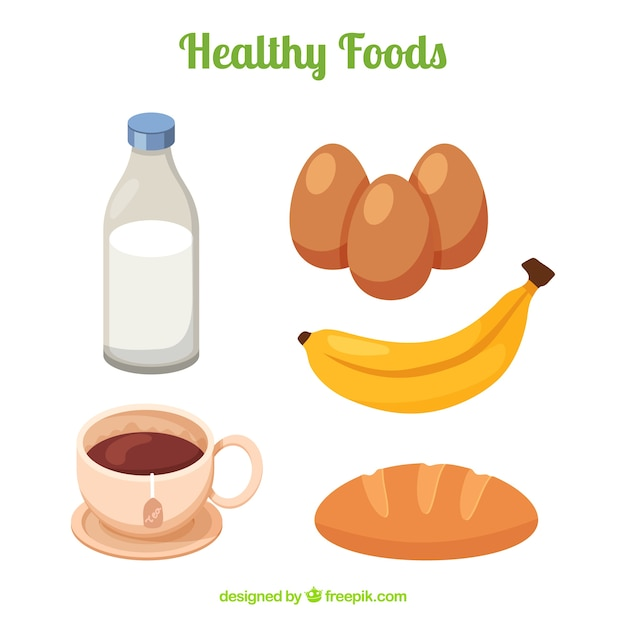 Collection of healthy products in flat design Free Vector