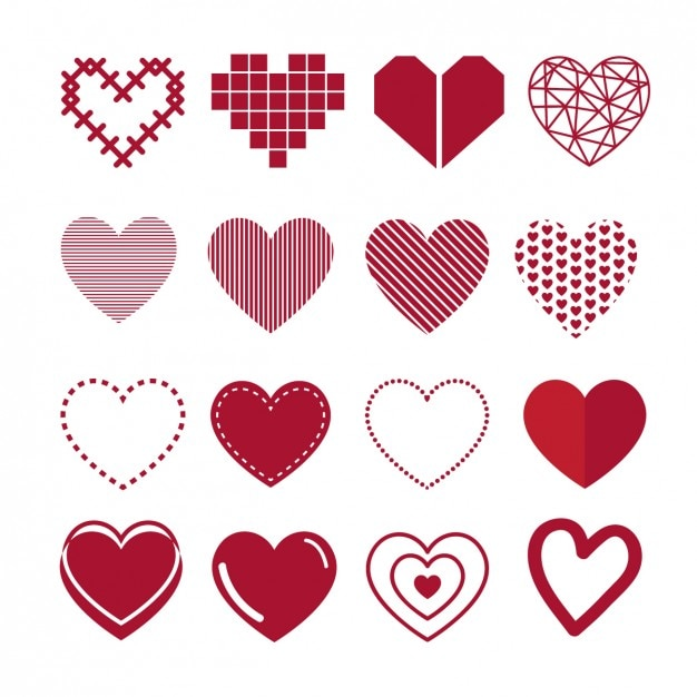Collection of heart Free Vector