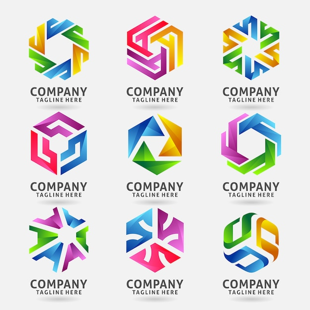 Collection of hexagonal round business logo design Premium Vector