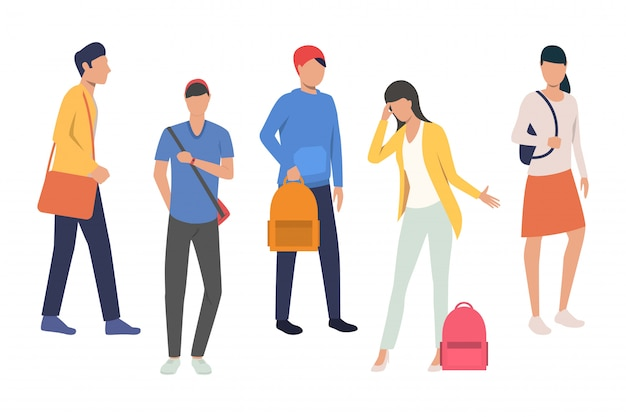 Collection of high school students Free Vector
