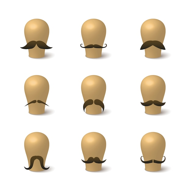 Collection of hipster mustaches on hat-blocks Free Vector