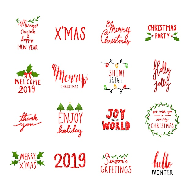 Collection of holiday typography vectors Free Vector