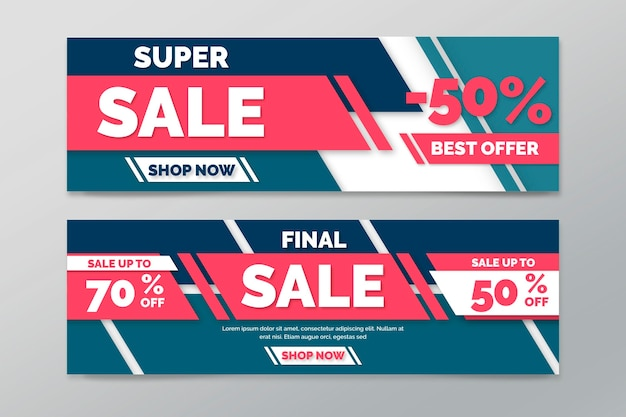 Collection of horizontal banners for sale with geometric lines Free Vector