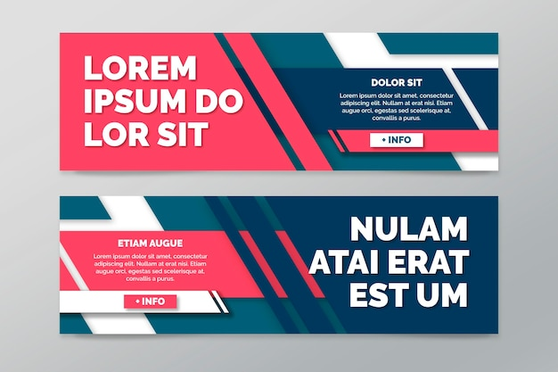 Collection of horizontal banners with geometric lines Free Vector