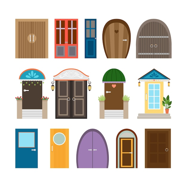 Collezione di porte di casa. portale, ingresso e facciata in legno e architettura, uscita ed entrata. Vettore gratuito