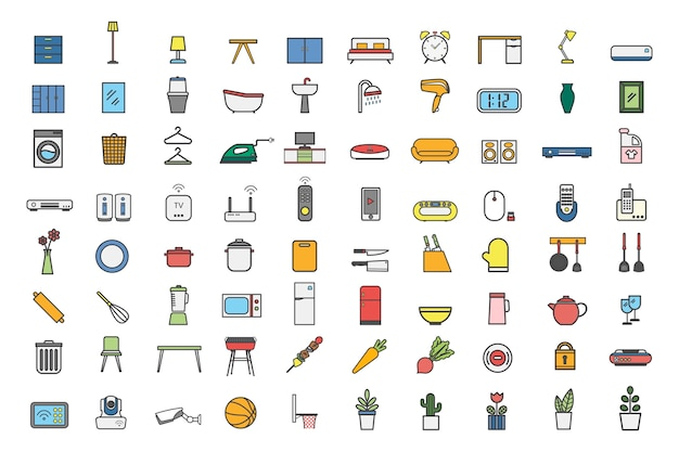 Collection of household item vectors Free Vector