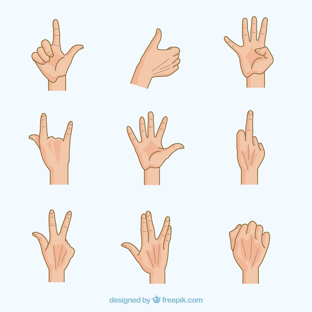Collection of human hand gestures Free Vector