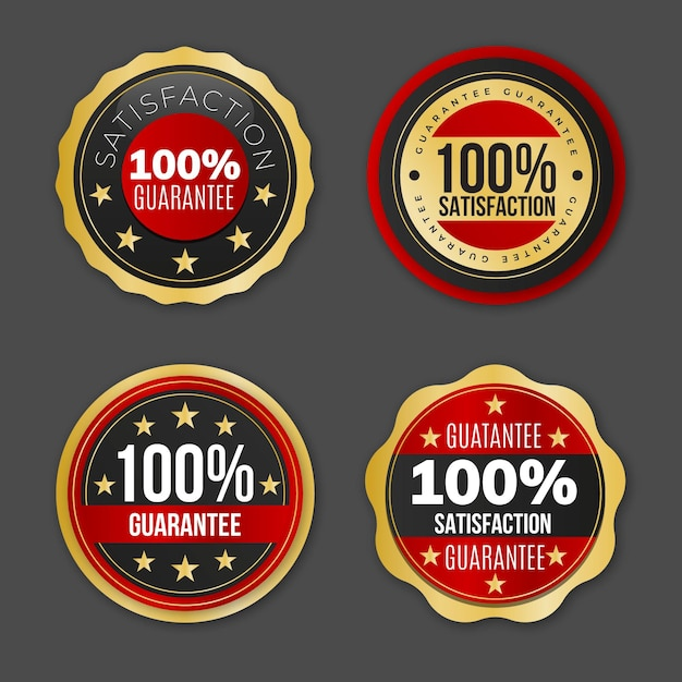Collection of hundred percent guarantee labels Free Vector