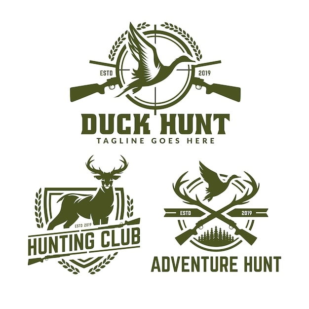 Collection of hunting logo pack Premium Vector