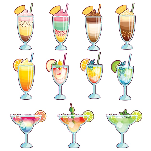 Collection of ice creams, cocktails and smoothies Premium Vector