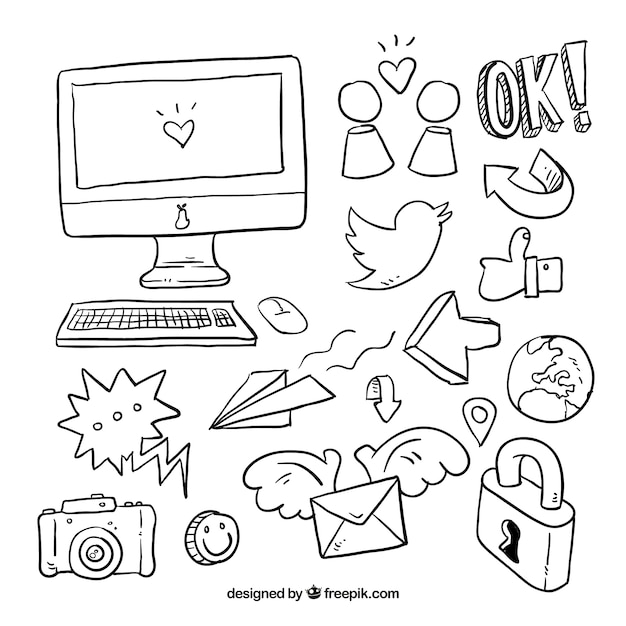Collection Of Icons And Social Media Sketches Vector