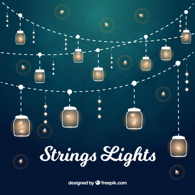 Collection of illuminated strings with dragonflies Free Vector