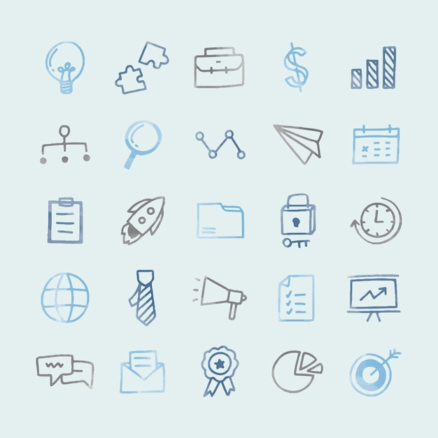Collection of illustrated business icons Free Vector