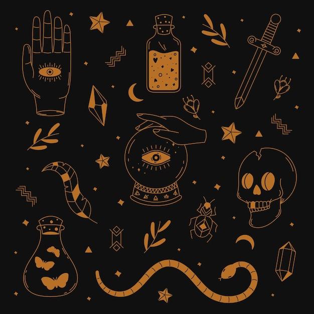 Raccolta di elementi esoterici illustrati Vettore gratuito
