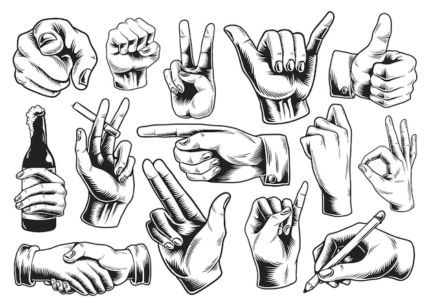 Collection of illustrated hand signs Premium Vector