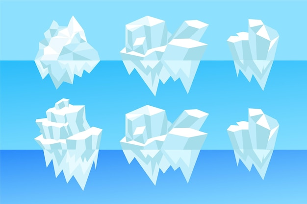 Collection of illustrated icebergs in the ocean Free Vector