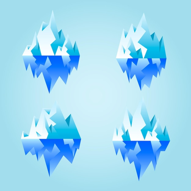Collection of illustrated icebergs Free Vector