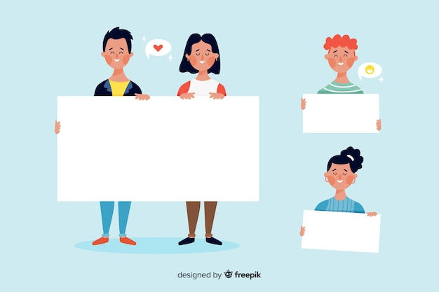 Collection of illustrated people holding empty banners Free Vector
