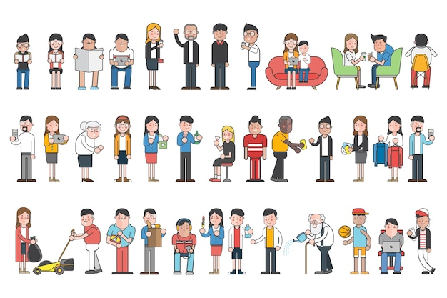 Collection of illustrated people in various daily situations Free Vector