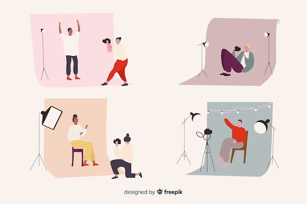 Collection of illustrated photographers taking different shots Free Vector