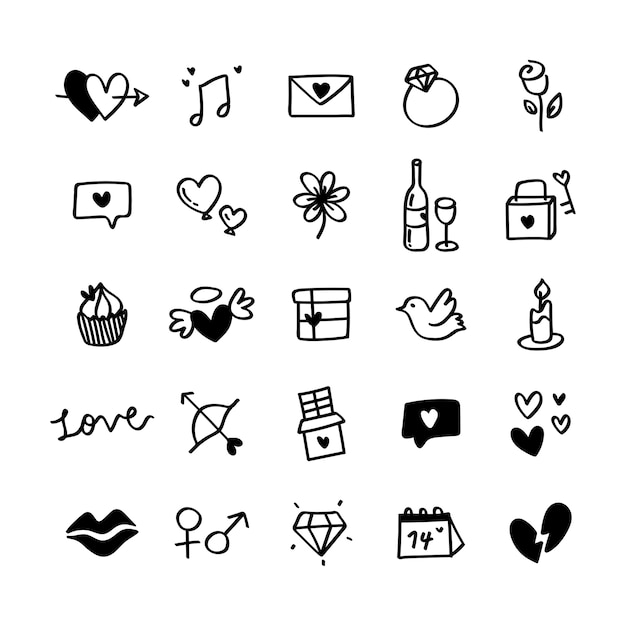 Collection of illustrated valentine's icons Free Vector