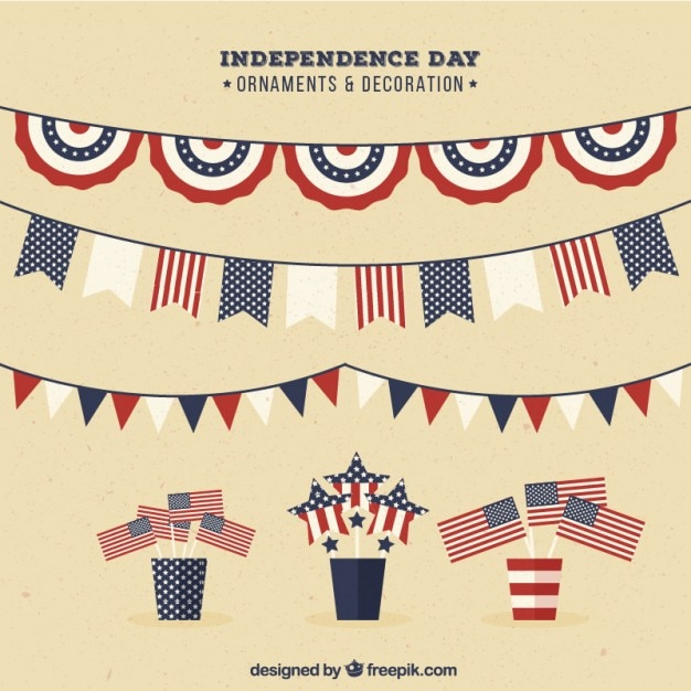 Collection of independence day garland and decoration Free Vector