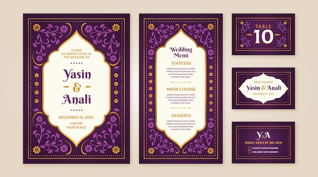Collection of indian wedding stationery Free Vector