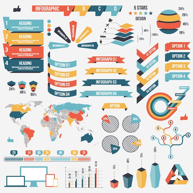 Collection of infograph elements Premium Vector