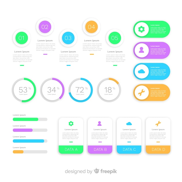 Collection of infographic elements flat design Free Vector