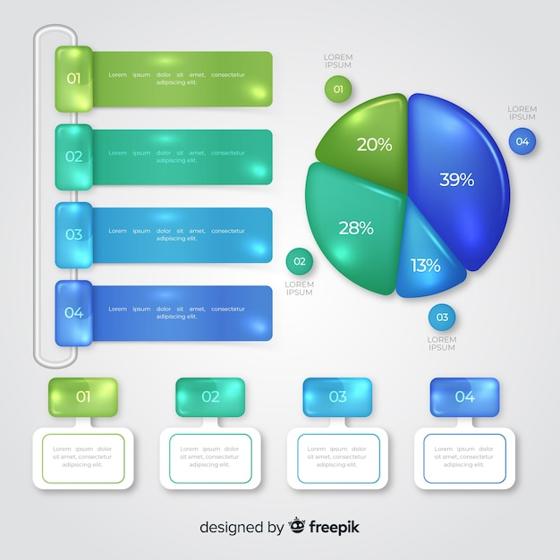 Collection of infographic elements template Free Vector