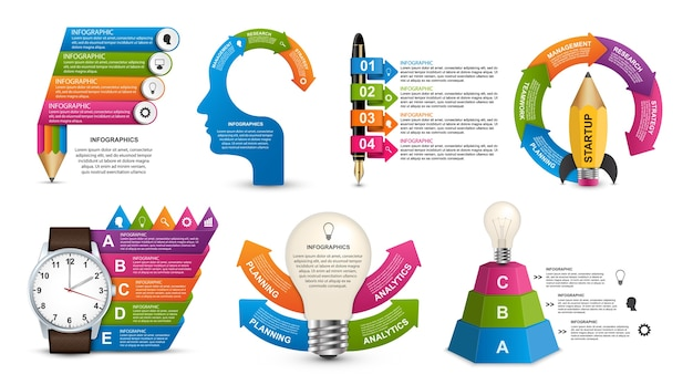Collection infographics for information banner. Premium Vector