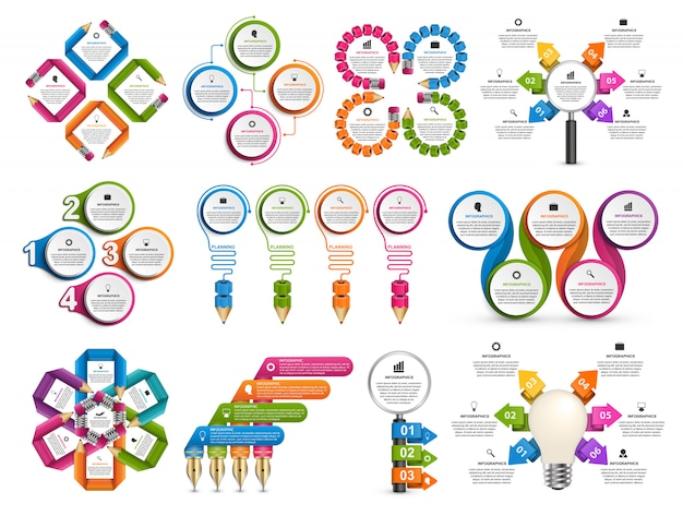 Collection infographics. Premium Vector