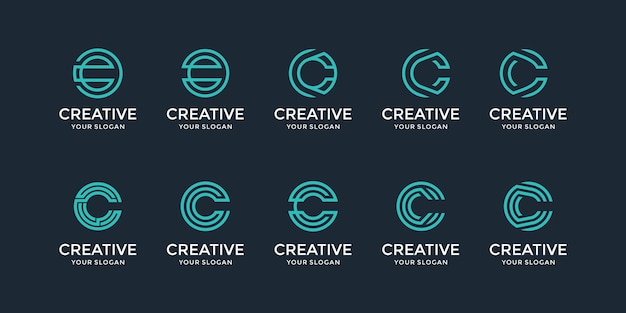 A collection of inspiration for the letter c logo design Premium Vector