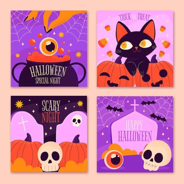 Raccolta di post di instagram di halloween Vettore gratuito