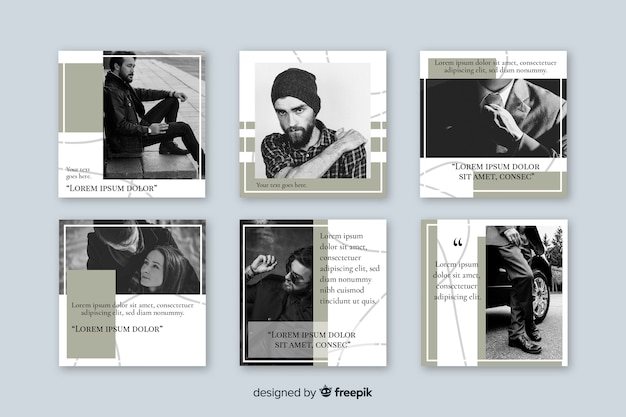 Collection of instagram posts template Free Vector