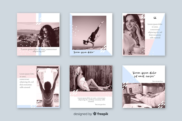 Collection of instagram posts Free Vector