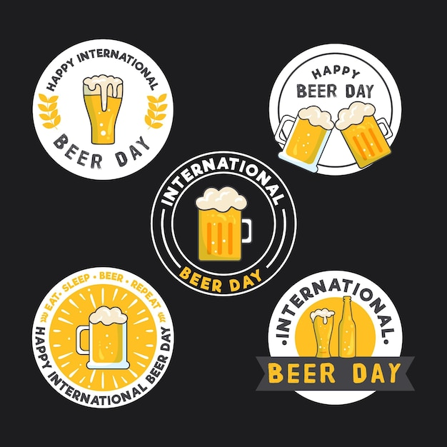 Collection of international beer day badges Premium Vector