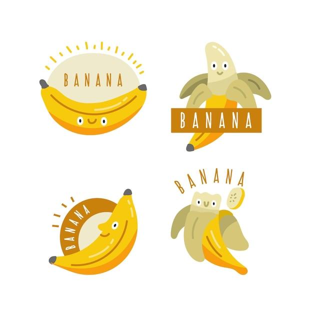 Raccolta di modello di logo di banana isolato Vettore gratuito