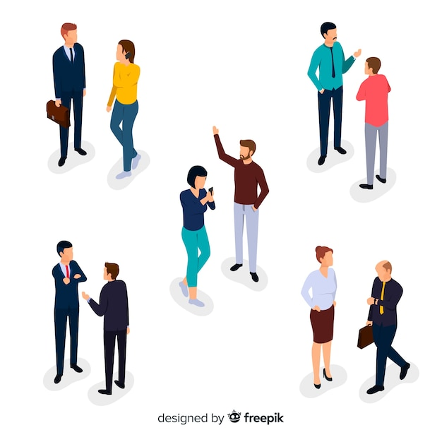 Collection of isometric business people talking Free Vector