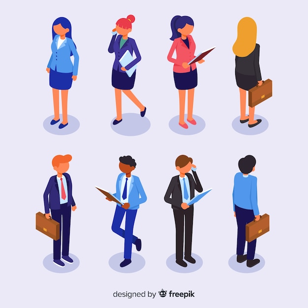 Collection of isometric business people Free Vector