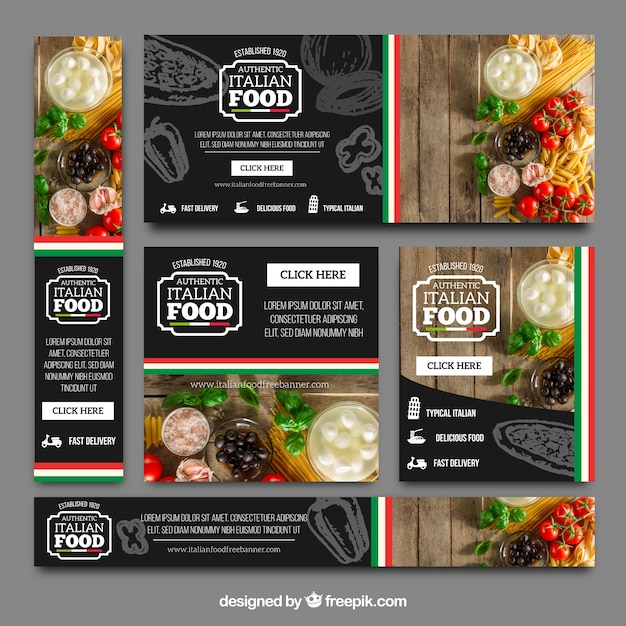 Collection of italian restaurant banners Free Vector