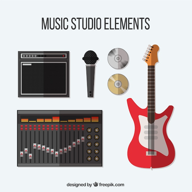 Collection of items related to a music studio Free Vector